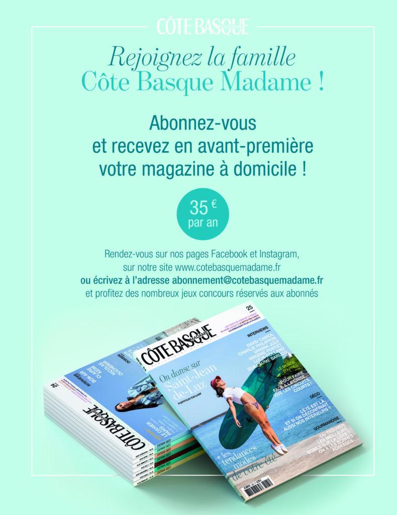 Plaquette abonnement cote basque madame